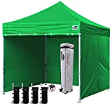 Eurmax 10'x10' Ez Pop-up Canopy Tent with 4 Removable Side Walls and Roller Bag, Bonus 4 SandBags, Kelly Green