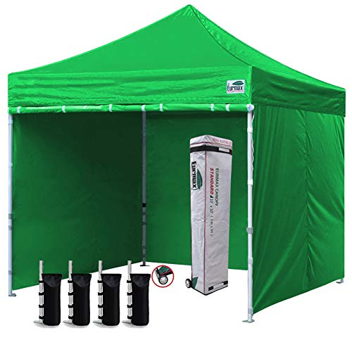 Eurmax 10'x10' Ez Pop-up Canopy Tent Commercial Instant Canopies with 4 Removable Zipper End Side Walls and Roller Bag, Bonus 4 SandBags(Bright Green)
