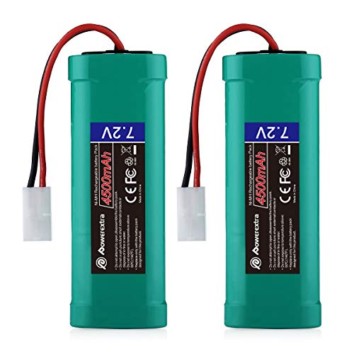 Powerextra 2 Pack 7.2V 4500mAh High Capacity 6-Cell NiMH Battery Packs with Standard Tamiya Connectors Compatiable RC Cars, RC Truck, RC Airplane, RC Helicopter, RC Boat