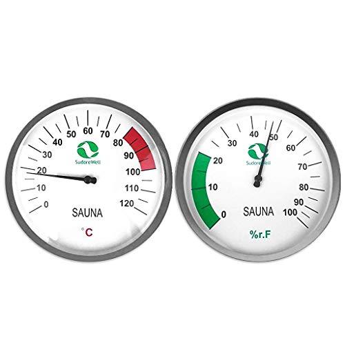 SudoreWell® Sauna Thermometer Classic Ø125mm + Hygrometer Classic Ø125mm