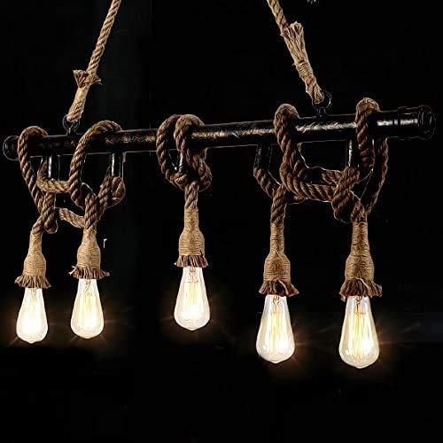 ZSAIMD Estilo industrial del tubo de agua Lámparas de la vendimia 5-luz lámpara del techo colgante natural del cáñamo de la cuerda de metal colgando del techo pendiente de la luz de la lámpara LED Fix