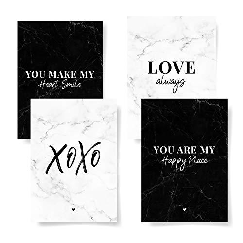 Donari® 4er Postkarten Set Liebe edles Design in A6 • Liebeskarten Sprüche und Zitate für Liebe schwarz weiß • Schöne Karten Freundschaft Vintage (Liebe)