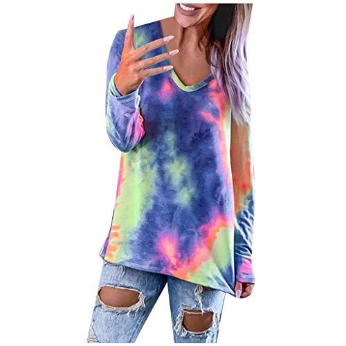 Women's Pullover Tops Casual Tie-Dye V-Neck Long-Sleeved T-Shirt E-Scenery