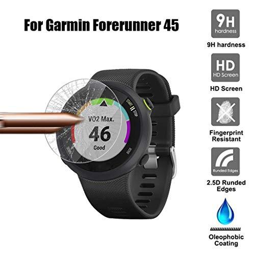 Lot de 3 films de protection d'écran en verre trempé ultra fin et flexible - Protection complète pour écran - Protection contre les rayures - Compatible avec la montre Garmin Forerunner 45 / S