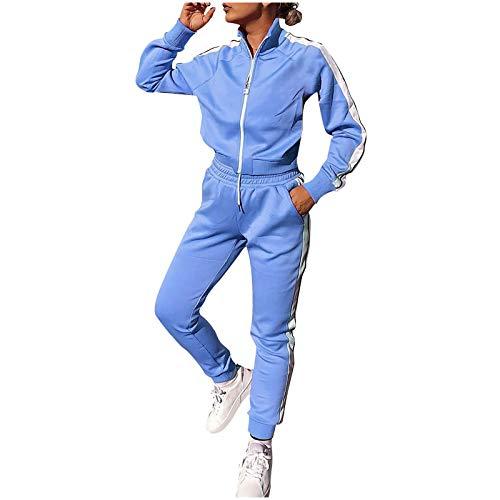 Lazzboy Jogginganzug Frauen Solid Patchwork Reißverschluss Cardigan Sportswear 2pc Loungewear Damen Anzug Sets Trainingsanzug Sportanzug Hose Jacke Streetwear ( Blau,M )