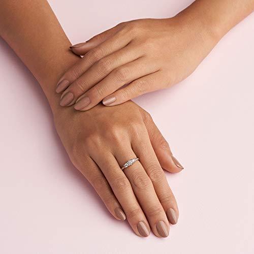 Pandora Jewelry Clear Three-Stone Cubic Zirconia Ring in Pandora Rose, Size 4.5