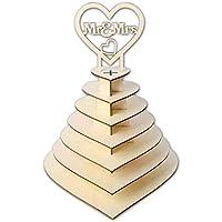 Driidudur - Soporte de 7 niveles con forma de corazón personalizable con diseño de pirámide de Mr & Mrs Ferrero Rocher para bodas, postres, dulces y chocolate