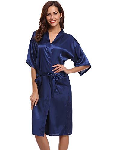 Aibrou Damen Satin Kimono Nachthemd Nachtwäsche Langer Morgenmantel Bademantel Schlafanzug Unterwäsche mit Gürtel Blau XL