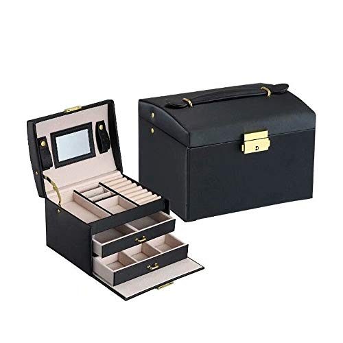 Flywill Schmuckkastchen mit 3 Schubladen Kosmetikkoffer mit Innenspiegel, Schmuck-Organizer Schmuckschatulle Schmuckkoffer