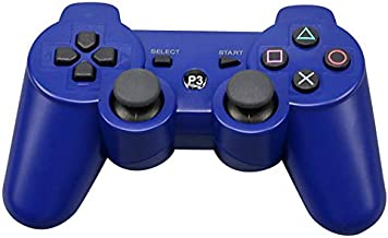 Game Controller for PS3 Vibration Handle Gamepad Wireless High-end Handle Full-Featured Game Handle Color:Blue
