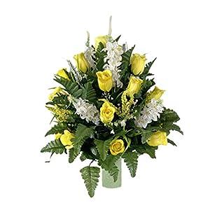 Yellow Rose Vase Flower – Cemetery Flowers~Cemetery Styrofoam Vase Insert~Cemetery Vase Arrangement~Graveside Flowers~