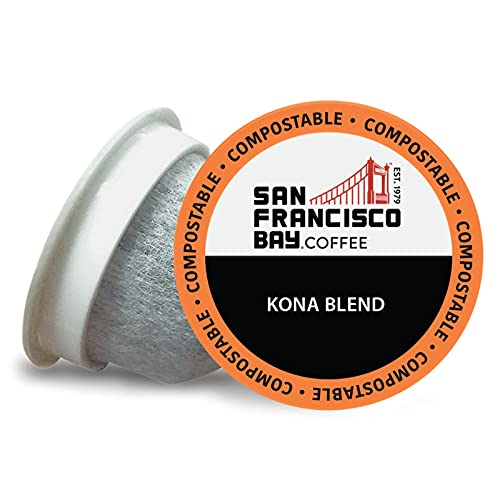 SF Bay Coffee OneCUP Kona Blend 36 Ct Medium Roast Compostable Coffee Pods, K Cup Compatible including Keurig 2.0 (Packaging May Vary)