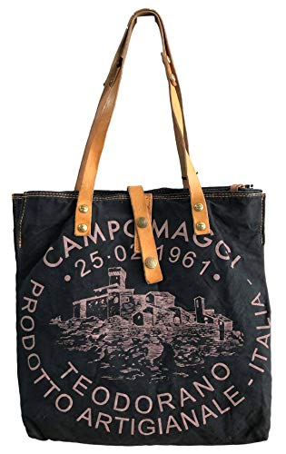 Campomaggi Shopper C1389ML-TEVL - C00167ND X0009 F0081 Nero+ ST. Rosa