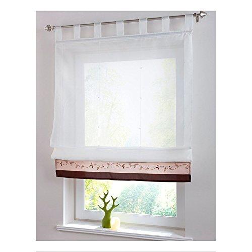 KOU-DECO Schlaufen Raffgardine Stickerei Raffrollo mit Satinband Voile Transparente Weiße Vorhang mit Stangen 1 Stück (kaffee, 80x155cm)