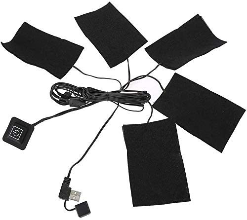 ヒーターパッド 加熱シート USB加熱 電熱ヒーター 炭素繊維加熱 冬に対策 冷え性に対応 あったか 発熱 内蔵 5連タイプ USB加熱 折り畳み式 防水 3段階温度調節 タイマー機能 5V/2Aに適用