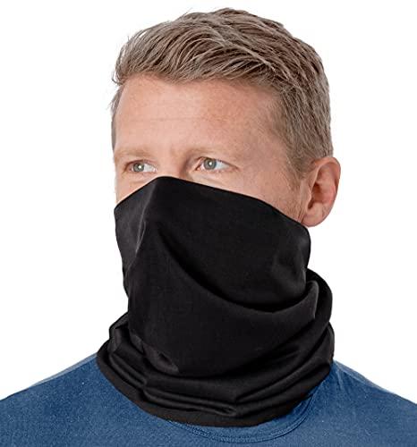 Neck Gaiter Face Mask - Face Cover & Sleeve w/UV & Dust Protection - Pull Over Masks & Bandana - Fishing & Running - Black
