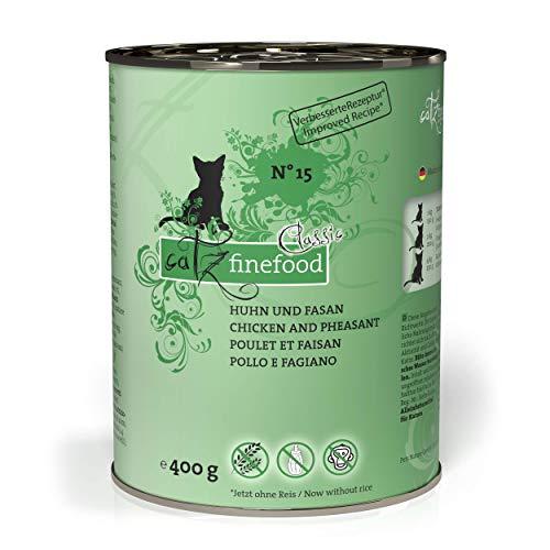 catz finefood N° 15 Huhn & Fasan Feinkost Katzenfutter nass, verfeinert mit Quinoa & Kresse, 6 x 400g Dosen