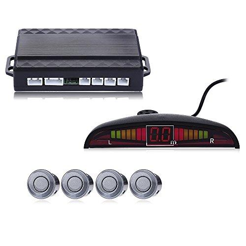 Bourdonnement son Car Capteur de stationnement Auto Parktronic LED avec 4 capteurs inverse moniteur de stationnement Radar de sauvegarde détecteur de System – Gris