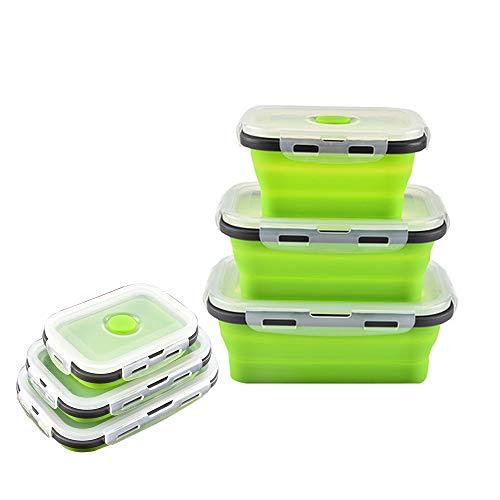Lot De 3 Silicone Pliable Nourriture Contenants De Rangement Lunch Bento Box Portable RéUtilisable Pliage Scellé BoîTe Micro-Ondes Lave-Vaisselle RéFrigéRateur CongéLateur Four Safe,Green