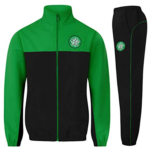 Celtic FC Official Soccer Gift Mens Jacket & Pants Tracksuit Set Black XL