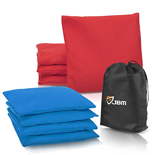 JBM Cornhole Bag (Pack of 8) Weather Resistant Cornhole Bags with Recycled Plastic Pellets for Tossing Corn Hole Game - Free Carrying Bag Included (Red & Dark Blue, 14OZ)