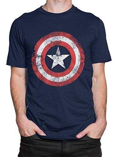 T-shirt Capitan America Retro Con un estampado guay del escudo de Steve Rogers aka Capitán América. Con un diseño enérgico y audaz para todo super heroe. Un regalo perfecto para fanáticos de los Avengers (Vengadores) Mercancía de Marvel con licencia ...