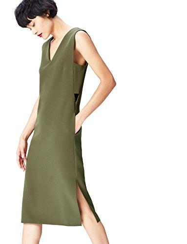 Amazon-Marke: find. Damen Kleid mit seitlichen Cut-Outs, Grün (Khaki), 34, Label: XS