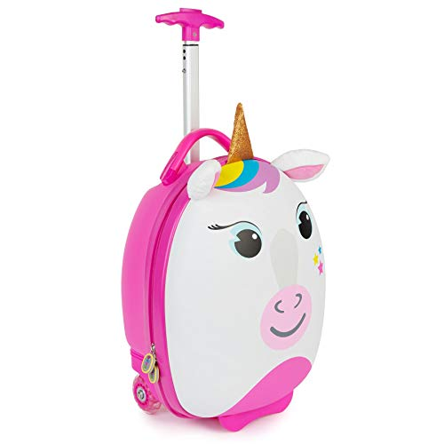 Boppi Tiny Trekker Kids Luggage Travel Suitcase Carry On Cabin Bag Holiday Pull Along Trolley Lighweight Wheeled Holdall 17 Litre Hand Case - Unicorn