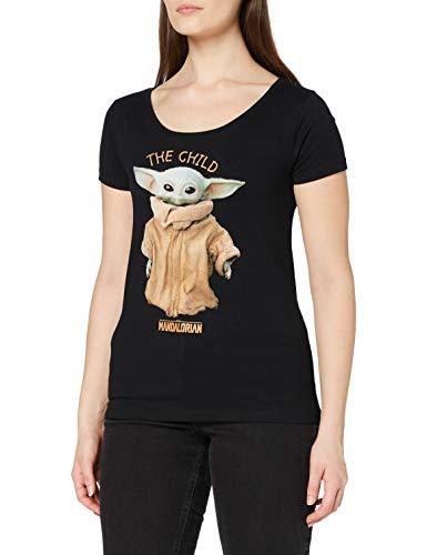 THE MANDALORIAN T-Shirt Camiseta, Negro, S para Mujer