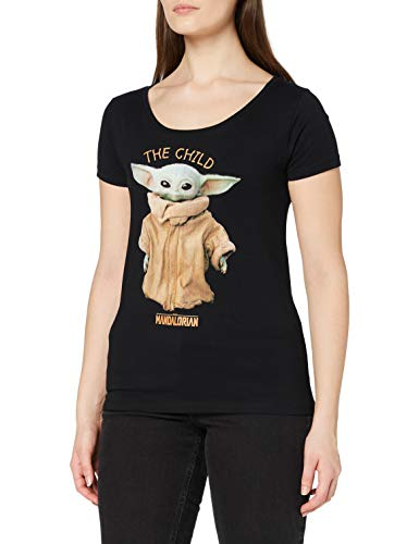 THE MANDALORIAN t-Shirt Camiseta, Negro, M para Mujer