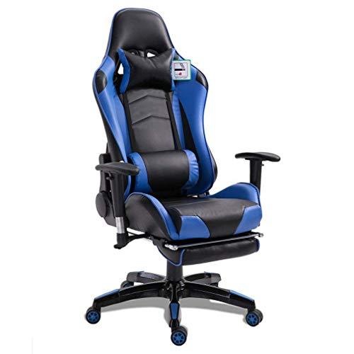 Sedia da Gaming, Sedia da Ufficio Ergonomica in Stile Racing, Girevole con Ruote e Poggiapiedi, Altezza Regolabile, Supporto per la testa e lombare