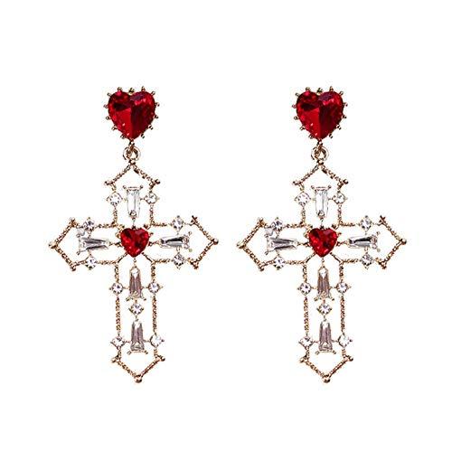 Yhhzw Pendientes De Cristal De Corazón Rojo Pendientes De Diamantes De Imitación Con Colgante De Cruz De Color Dorado Para Mujer Joyería Regalo De Fiesta