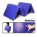 CCLIFE Colchoneta Plegable de Espuma para Gimnasia Yoga Deportiva Yoga estrilla Triple Plegable 180/60/5cm, Color:DGNMT020A4060blu