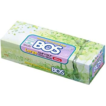 BOS Amazing Odor Sealing Disposable Bags for Diapers, Pet Waste or any Sanitary Product Disposal -Durable and Unscented (60 Bags) [Size: L, Color: White]