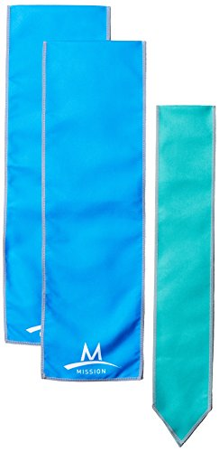 Mission Cooling Accessories Multi-Pack with 1 Cooling Scarf/2 Cooling Wraps, Blue & Aqua, One Size