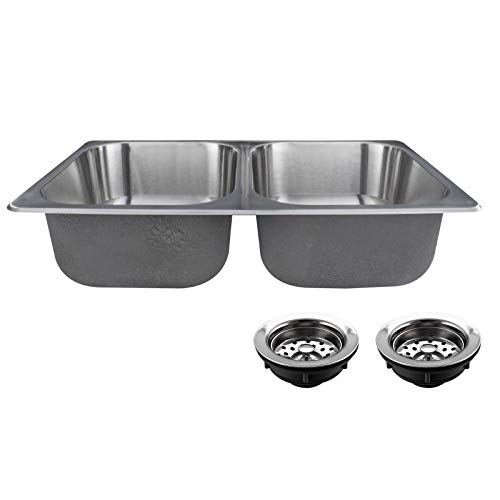 RecPro RV Double Stainless Steel Sink 27