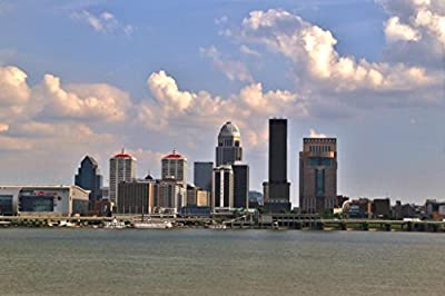 Louisville Kentucky Skyline on the Ohio River Photo Art Print Framed Poster 18x12 by ProFrames