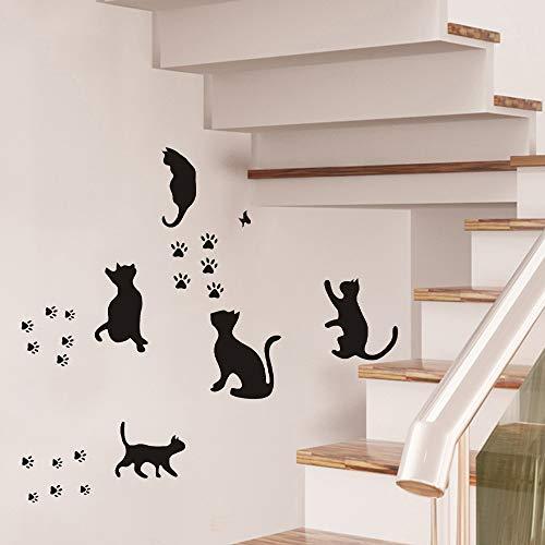 5 adhesivos de pared con diseño de huellas de gatos extraíbles, divertidos pájaros, vinilo para puerta, decoración para hogar, dormitorio, sala de estar, color negro