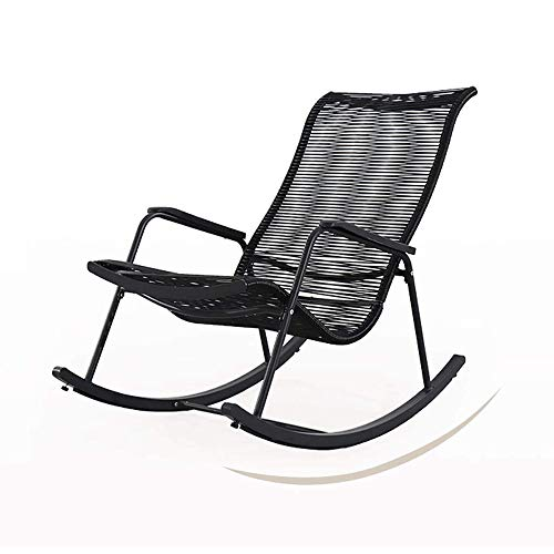 Kaidanwang Adult Siesta Rocking Chair Rocking chair - Outdoor Patio Folding Zero Gravity Rocking Chair,Camping Recliners, black