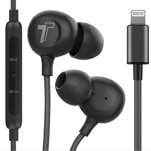 Thore iPhone Earbuds (Apple MFi Certified) Lightning in Ear Earphones (V60) Wired Headphones with Microphone/Remote for iPhone 11/Pro Max/XR/Xs Max/7/8 Plus (Black)