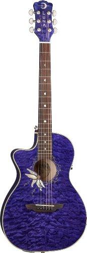 Luna Guitars FLO PF QM LEFTY - Guitarra electroacústica (para zurdos), color marrón