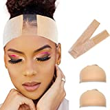 Breathable Premium Lace Wig Grip Headband with 2 Wig Caps - Non Slip-Keeps Wig Secured-Velvet Material-Comfortable Elastic Wig Grip Hair Band Adjustable - Reinforced Beige Non-Slip Satin Scarf With 2 Pieces Wig Caps
