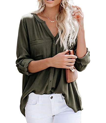 Ehpow Damen Bluse Langarm V-Ausschnitt Bluse Einfarbig Casual Button Down Oberteile Blusen Shirts(Small,Grün)