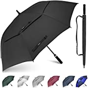Gonex 54/62/68 Inch Extra Large Golf Umbrella, Automatic Open Travel Rain Umbrella with Windproof Water Resistant Double Canopy, Oversize Vented Umbrellas for 2-3 Men and UV Protection, Multiple Colors