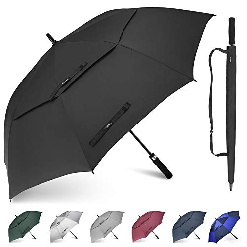 Gonex 62 Inch Extra Large Golf Umbrella, Automatic Open Travel Rain Umbrella with Windproof Water Resistant Double Canopy, Oversize Vented Umbrellas for 2-3 Men and UV Protection, Black