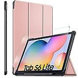 ELTD Funda + Película templada [combinación] para Samsung Galaxy Tab S6 Lite, Fundas Duras Case + Vidrio Templado Glass Film para Samsung Galaxy Tab S6 Lite 10.4 Tableta,(Oro Rosa+1 Pack)