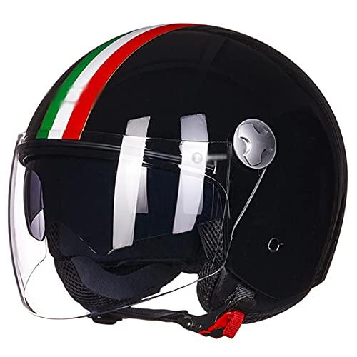 qwert Medio Casco De Motocicleta Estilo 3/4 De Cara Abierta Retro para...