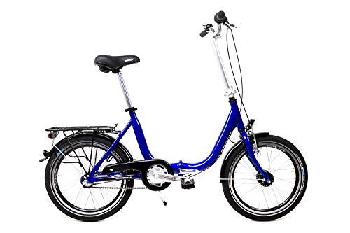 20 Zoll Aluminium Klapprad Falt Fahrrad Nabendynamo Rücktritt Shimano 3 Gang blau metallic