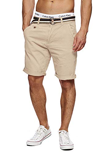 Indicode Herren Cuba Chino Shorts mit 5 Taschen inkl. Gürtel aus 100% Baumwolle | Kurze Hose Regular Fit Bermudas Sommerhose Herrenshorts Short Men Pants Chinohose für Männer Fog L