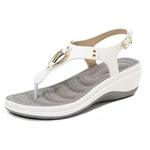 Sandalias de verano para mujer 2021, antideslizantes, suela de goma suave arqueada, sandalias de playa de piel sintética con hebilla de metal para mujer al aire libre, compras, casual